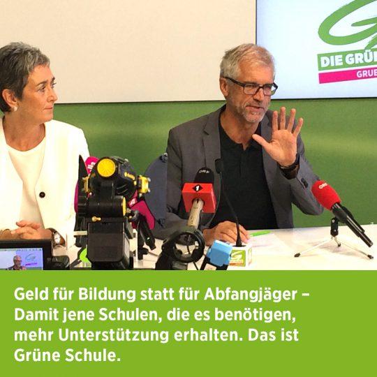 """Pressekonferenz """"Bildung statt Abfangjäger"""" mit Ulrike Lunacek"""